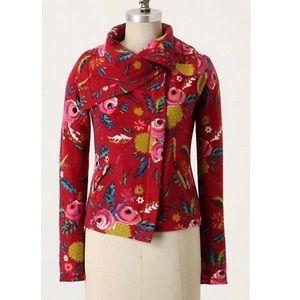 Anthropologie Floral Print Zip Up Jacket NWOT
